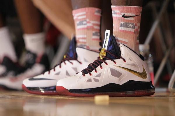 Close up LBJ wears Nike LeBron X USAB in Shanghai