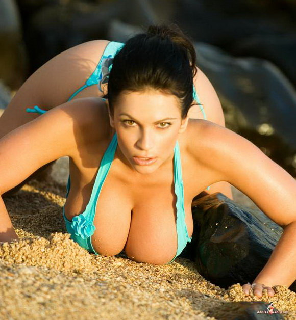 Denise Milani Bikini On The Rocks(40pics)  #big breasts:Best,gossip,bikini girl,big breasts