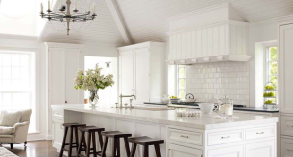 love this all white kitchen done in classic materials beautiful pitched ceiling and subway tiles add interest to this pretty all white kitchen