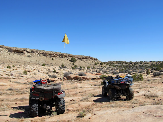 ATVs parked at the start of the slot in Reid Neilson Draw (just before its confluence with Crawford Draw)