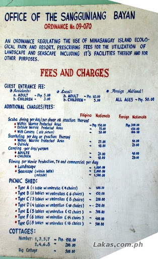 Minasangay Island Fees and Charges