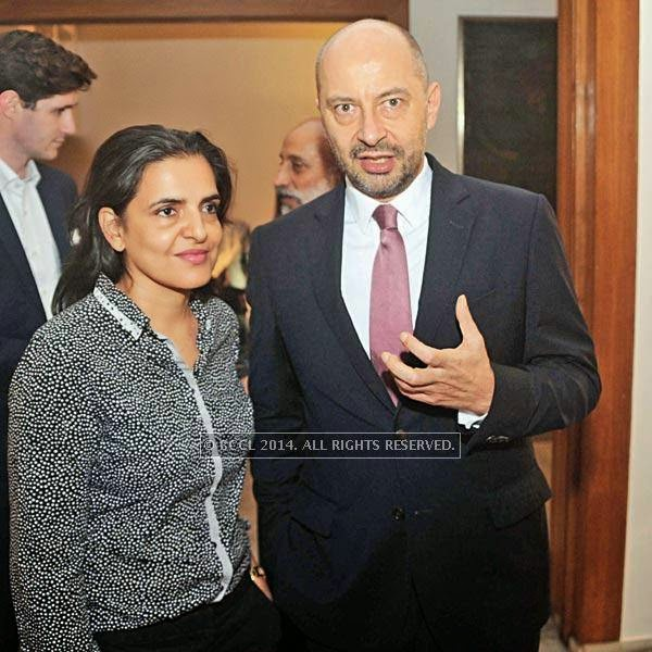Bharti Kher and Francois Richier during pre-show cocktail for Manish Arora's couture show at the French Embassy in Delhi.