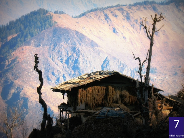 Hanging huts on the trail is a common feature of life in the hills. The mood of living life on the edge is captured very well by Nikhil Narayan.