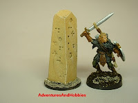 Ruined stone marker with carvings Fantasy war game terrain and scenery - UniversalTerrain.com