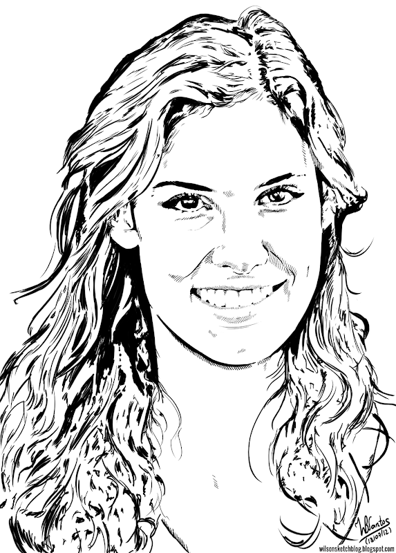 Ink drawing of Daniela Ruah, using Krita 2.5 Beta.
