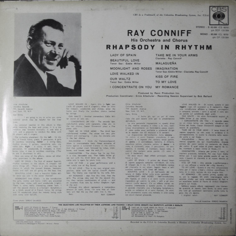 Vinyl2496 Ray Conniff Rhapsody In Rhythm 1962 2496 Lp