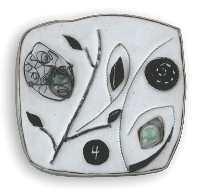 "Silvia Walz -  ""4 estaciones""  brooch -  Series 'Burbujas' -  silver, copper, resine, enamel, glass"
