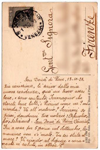 Retro della cartolina del 1928 scritta da uno dei primi salesiani giunti a San Donà