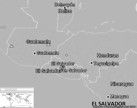 EL SALVADOR, blanco y negro, google earth