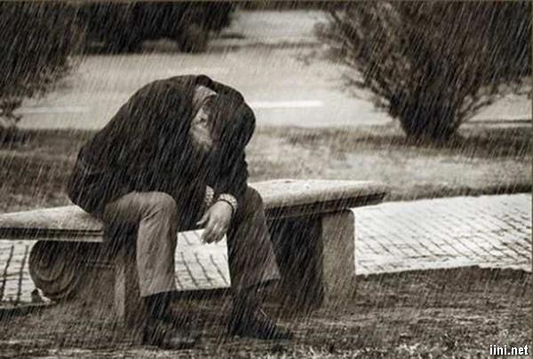 ảnh người đàn ông khóc trong mưa