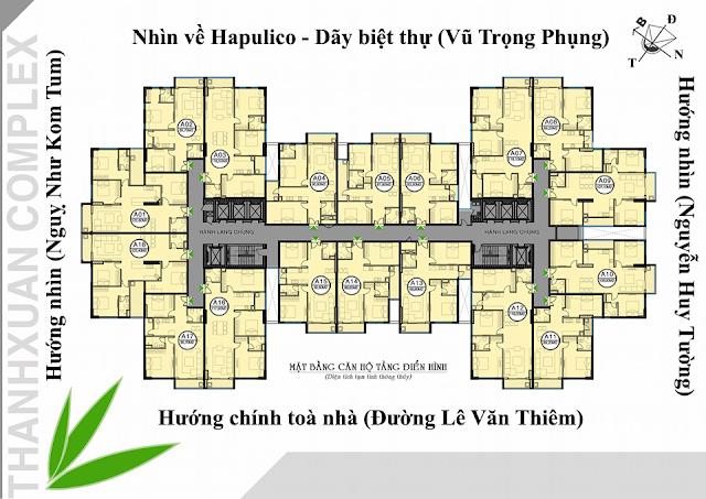 Mặt bằng căn hộ Thanh Xuân Complex Lê Văn Thiêm