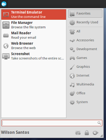 Whisker Menu running on Xubuntu 13.04