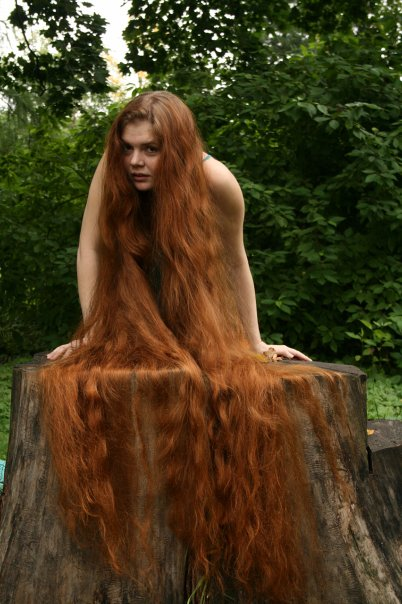 Dark red hair color - long hair model