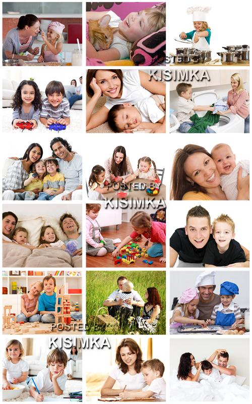 Stock Photo: Happy children and parents