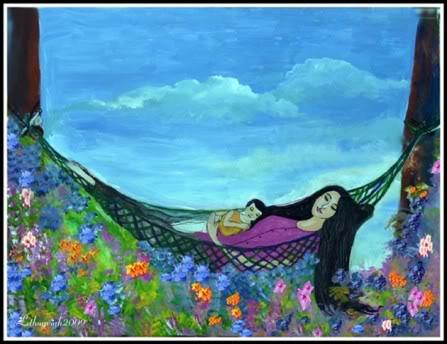 tranh vẽ mẹ ôm ru con ngủ trên võng
