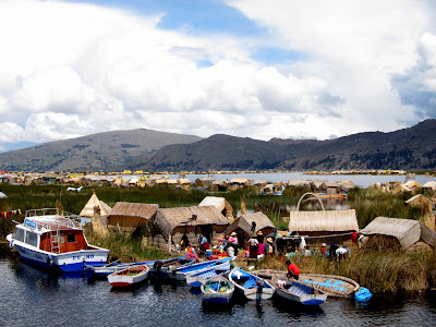 Floating Islands on Lake Titicaca near Puno Peru