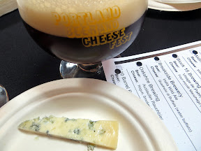 Portland Beer and Cheese Festival, beer and cheese pairing, The Commons Berwery, Steve's Cheese, Oakshire Brewing Auslaufen Rauchbier (cherry wood smoked ale), paired with Rogue Smokey Blue, raw cow, Oregon