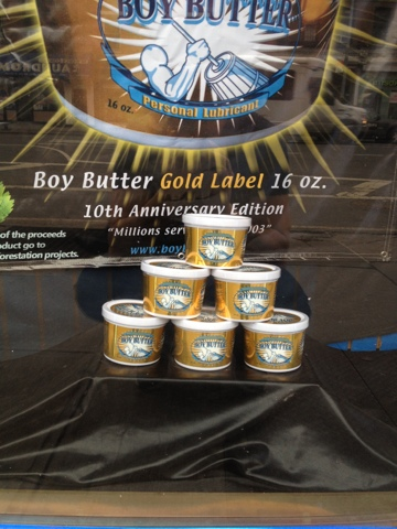 New Boy Butter Gold Label window display at Chelsea, NYC