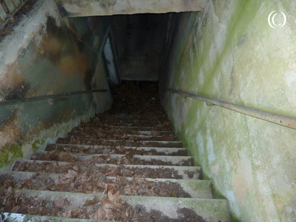 Staircase going underground to the right of the air raid shelter entrance