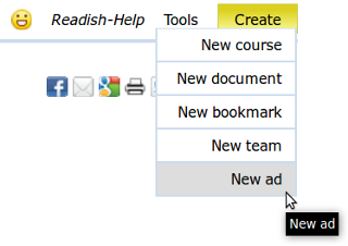 "Click ""Create"" menu, and select ""New ad"" link to create a new ad"