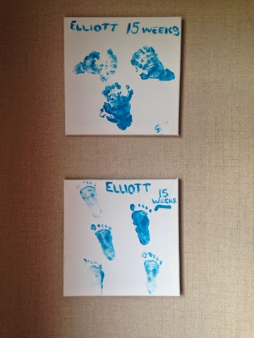 Beau is blue, beauisblue, hand prints, footprints, canvas