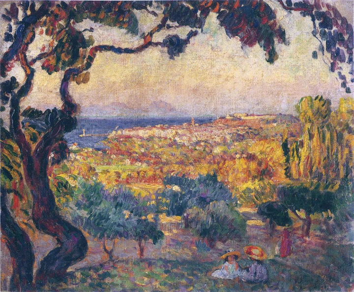 Henri Lebasque - Two children by the bay at St Tropez