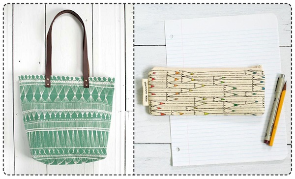 slide sideways green screen printed tote bag and pencil pouch