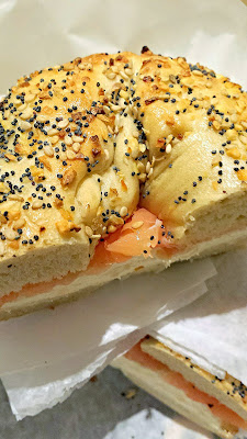 Zucker Bagels & Smoked Fish's Traditional, with Nova Scotia salmon with plain cream cheese, Lucky's tomatoes, red onions and capers, on a their hand rolled kettle boiled malt sweetened baked daily in their store Everything bagel