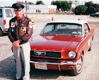 John M. Carah with his restored Mustang in 1993