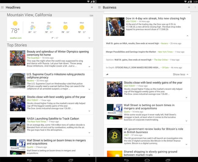 La aplicación 'Noticias y Tiempo' de Google para Android se actualiza