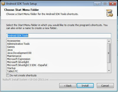 Instalar emulador de Android en Windows 7 con Android SDK Tools ADV y AVD