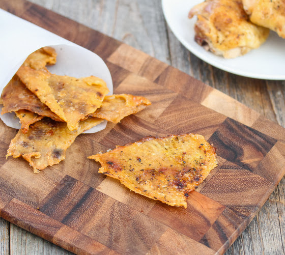 close-up of chicken cracklings on a cutting board