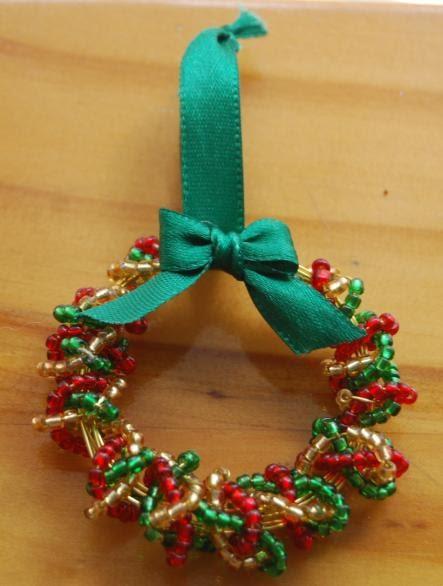 Mini Beaded Wreath for Xmas Tree - Tutorial