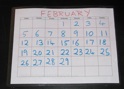 DIY Dry erase calendar. Laminate a calendar template and write with dry erase markers