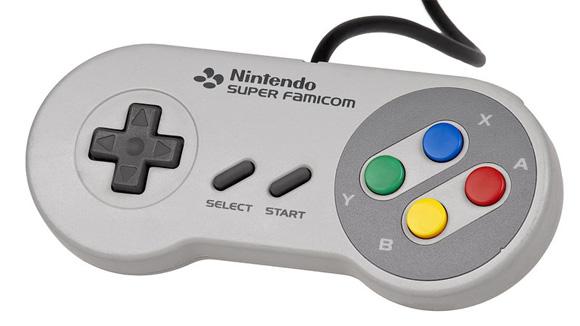 Controle do Super Famicom, com seus botões coloridos