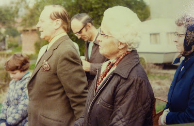 Mr Derek Morris, Mr Nicholls, Miss Margoris and Mrs Fuller at the opening of the allotments in Blennie's Patch in 1981