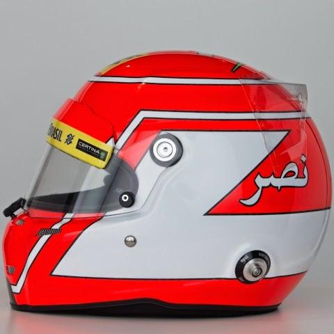 Il casco di Nasr ricorda quello che Niki Lauda usò negli ultimi anni in Mclaren. Omaggio anche alle origini libanesi con il suo nome scritto in arabo