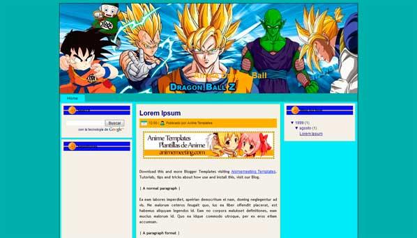 anime blogger template Dragon Ball