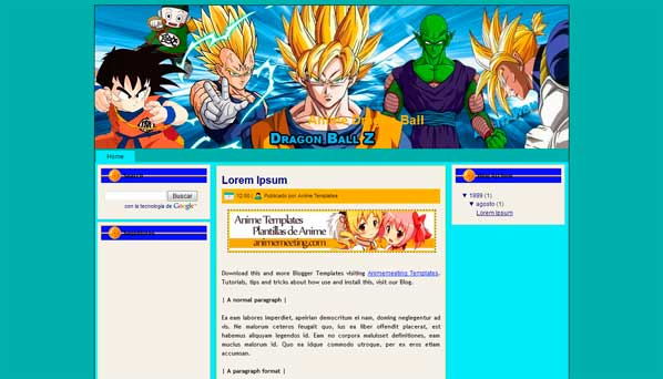 'Anime Plantilla Blogger' Dragon Ball Template