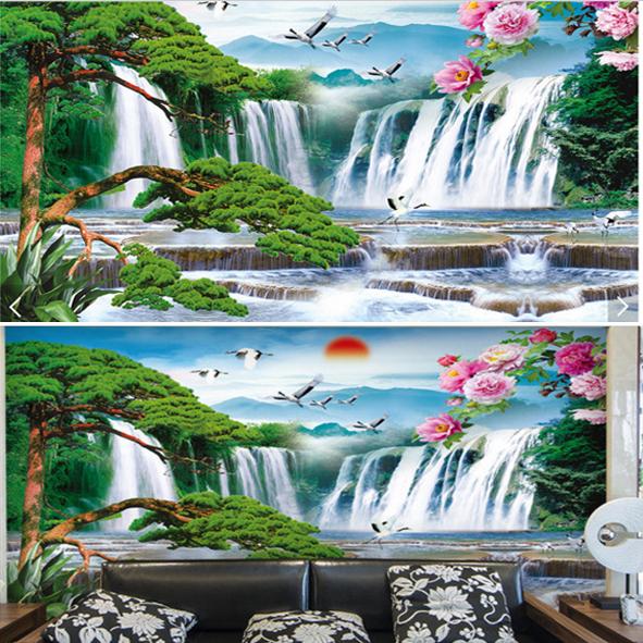Tranh Dán Tường Danh Lam Thắng Cảnh Suối Nước