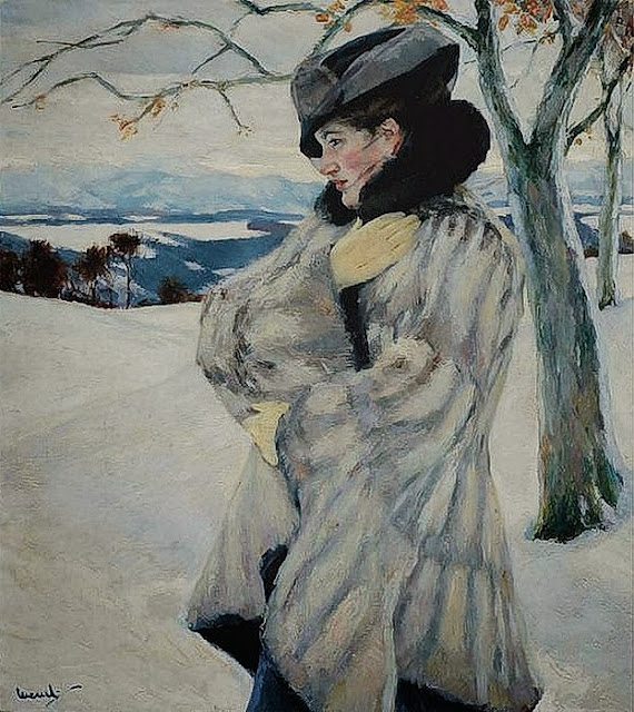 Edward Cucuel - Girl in Fur Coat