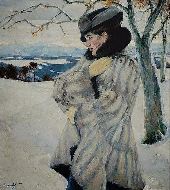 Edward Cucuel - Girl in Fur Coat
