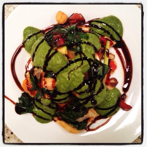 The Eat to Live Cookbook Project: Sweet Potato Lasagna with Swiss Chard and Arugula Walnut Pesto