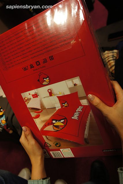Angry Birds bedsheets.