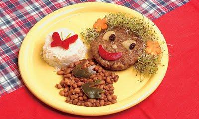 receita feijao arroz hamburguer salada alfafa Receitas divertidas e deliciosas para crianças