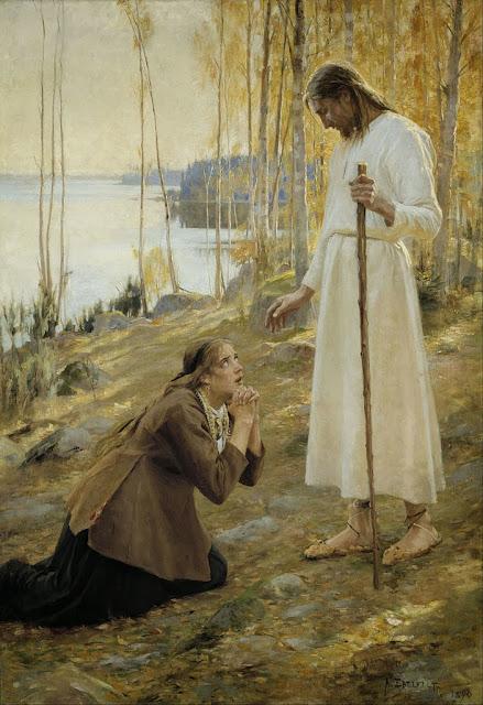 Albert Edelfelt - Christ and Mary Magdalene, a Finnish Legend - Google Art Project