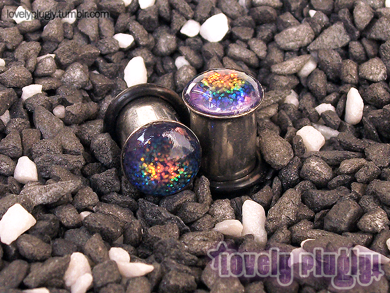 8mm / 0g Rainbow Glitter Plugs