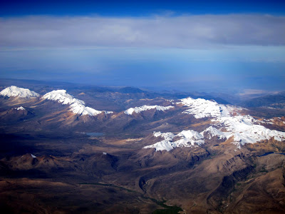 View out the window of the airplane while flying from La Paz Bolivia to Lima Peru