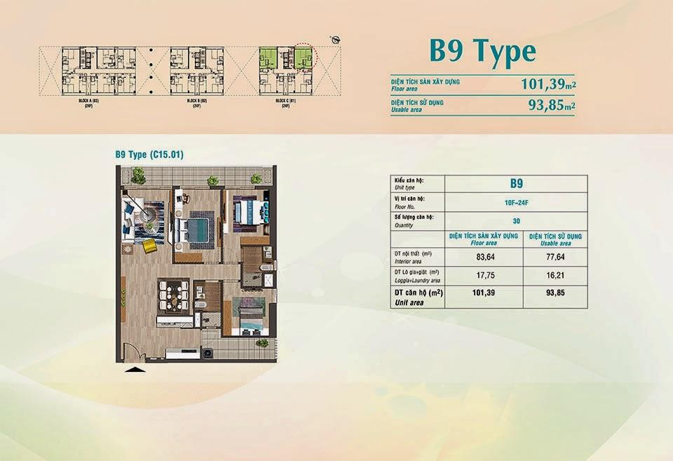 Căn hộ Scenic Valley Phú Mỹ Hưng, kiểu B9, 101.39m2 có thiết kế 3 phòng ngủ