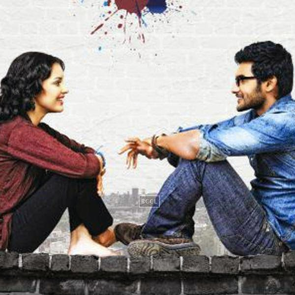 Aadi and Erica Fernandes in a still from Telugu movie Galipatam. www.gulte.com